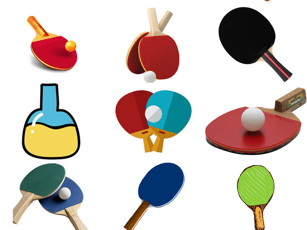 卡通乒乓球拍透明素材免抠png版