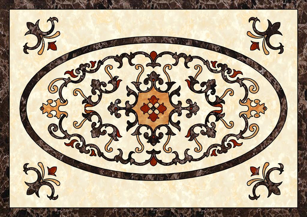 欧式瓷砖拼花效果图                                    大理石地板