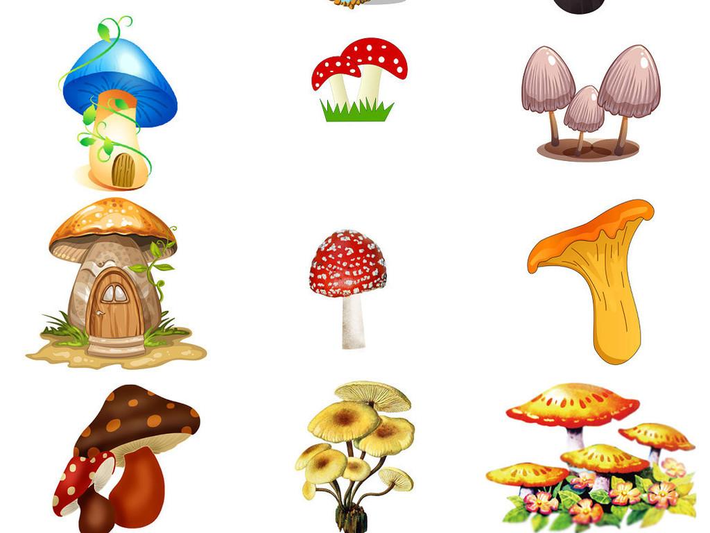 创意蘑菇卡通蘑菇海报设计素材免抠图3