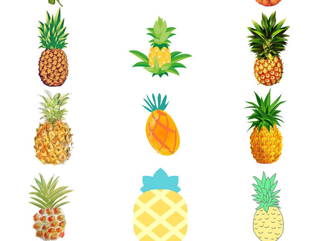 各种卡通菠萝ps装饰素材2