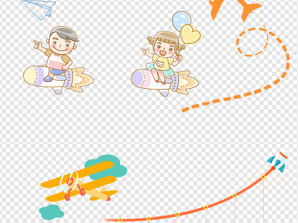 卡通纸飞机童趣图片素材