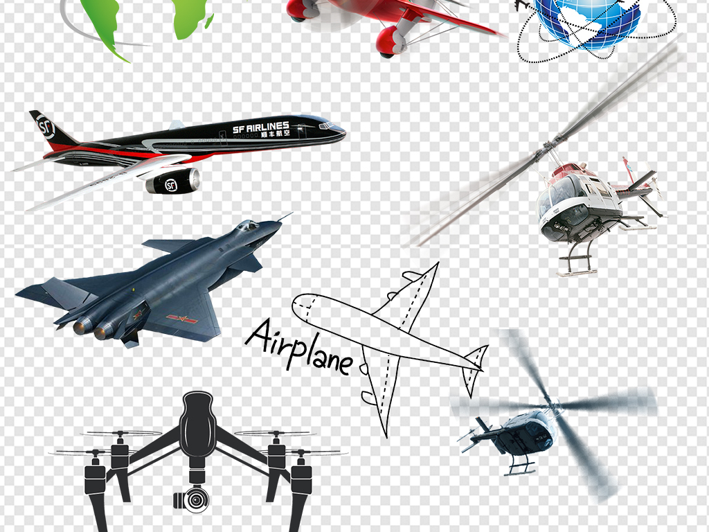 飞机线地球飞机卡通