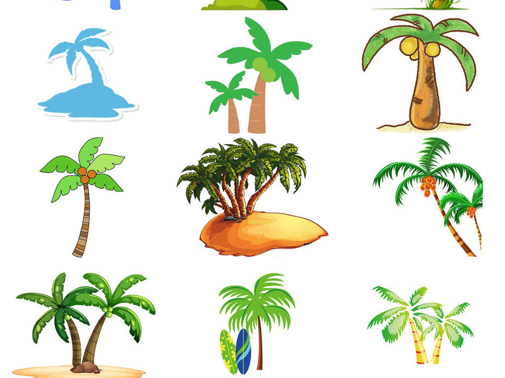 卡通椰子树ps装饰素材透明免抠图1