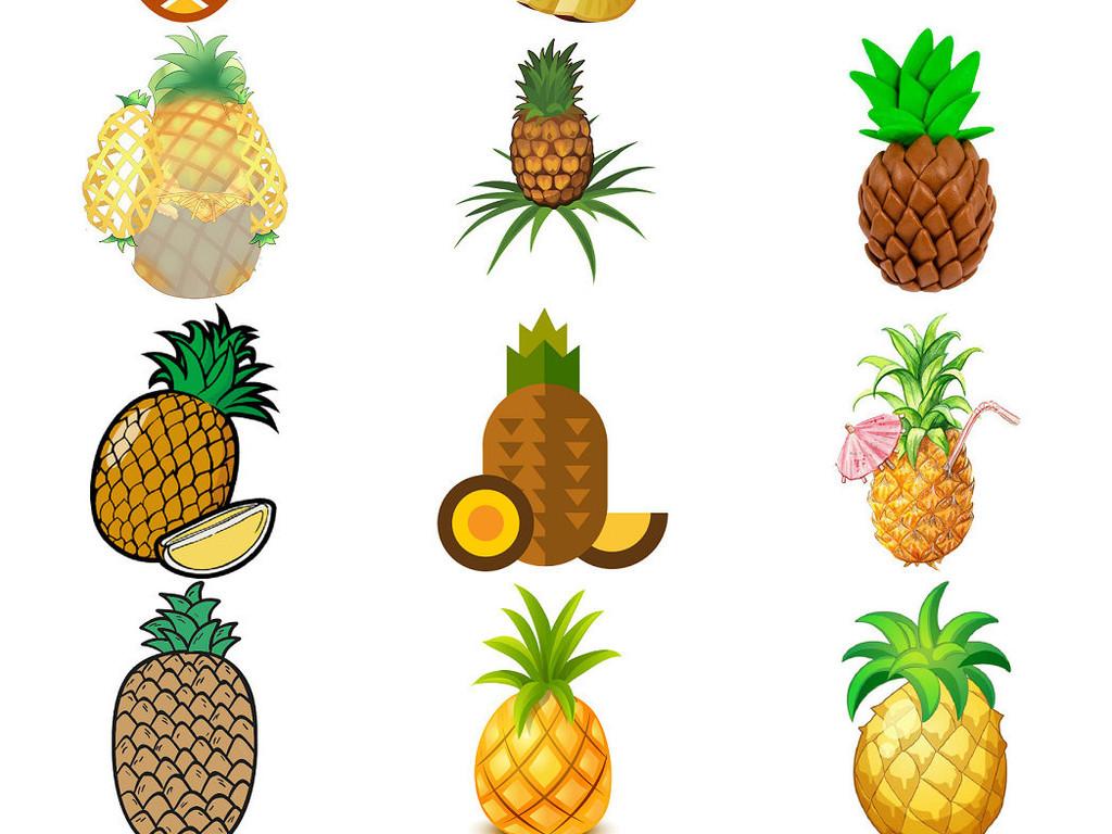卡通菠萝海报设计素材图片1