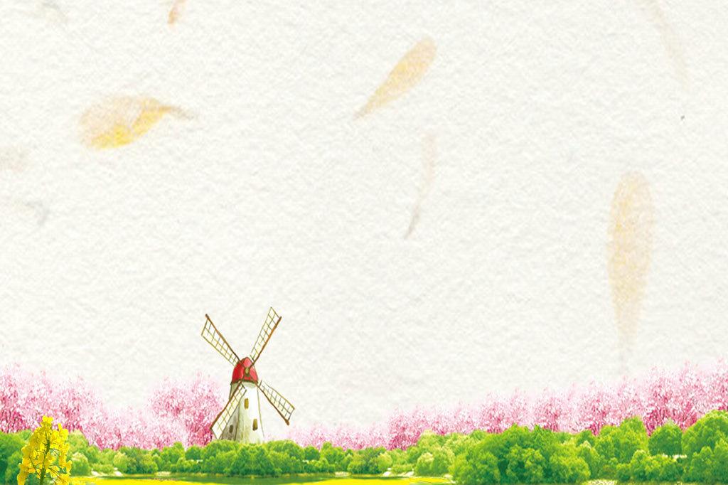 春天风景信纸背景图片