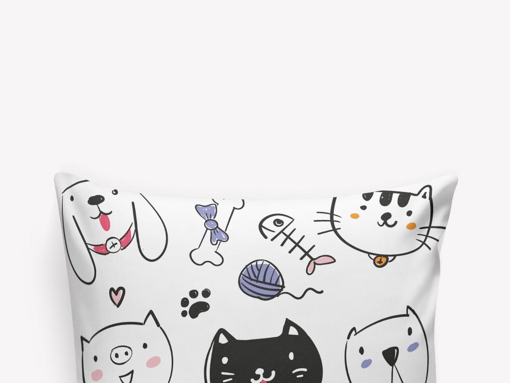 黑白卡通小猫小狗鱼骨头印花抱枕