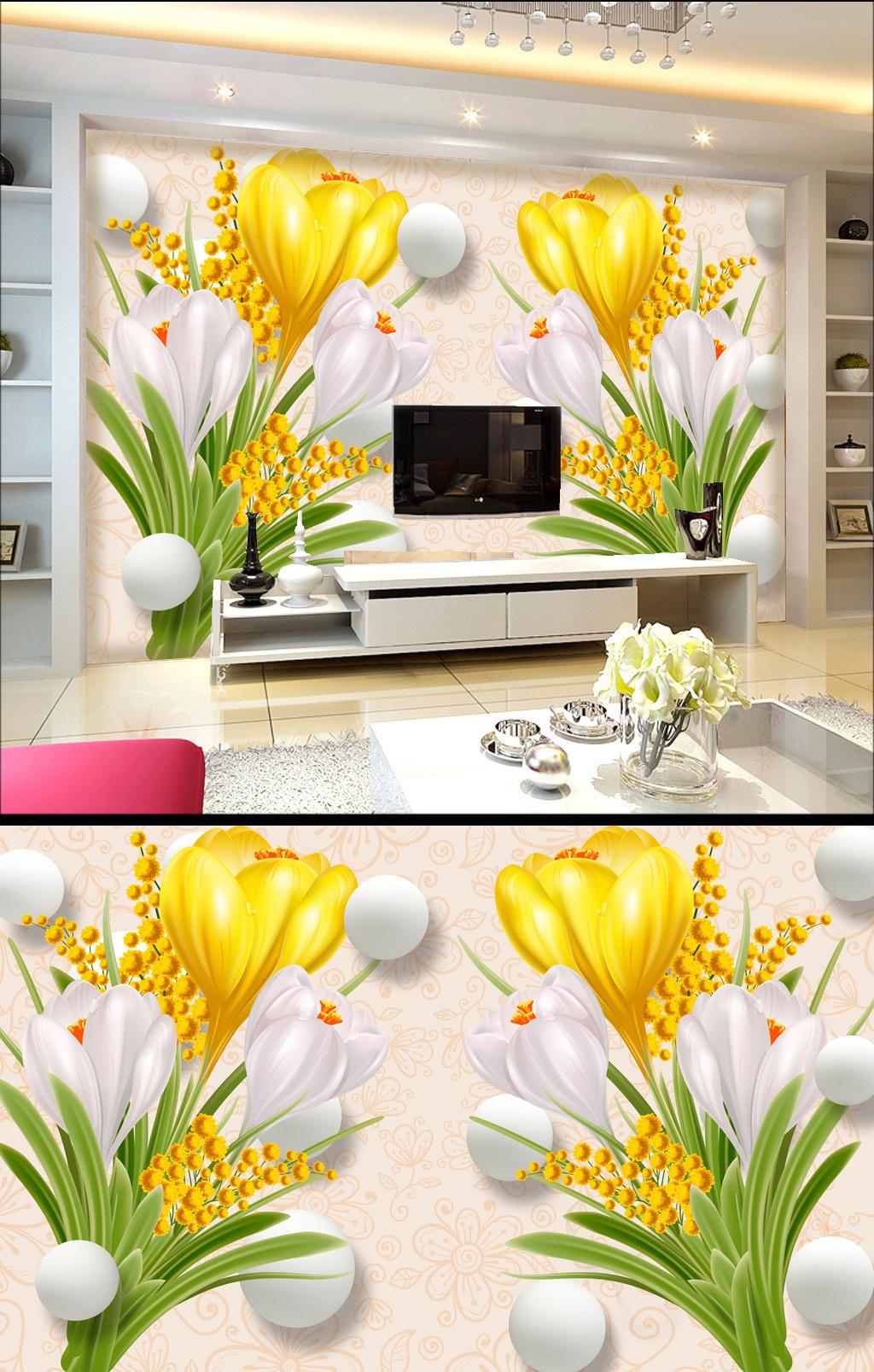 3d手绘花卉背景墙