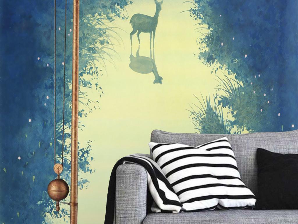 千住博手绘童话森林小路小鹿玄关壁画背景墙