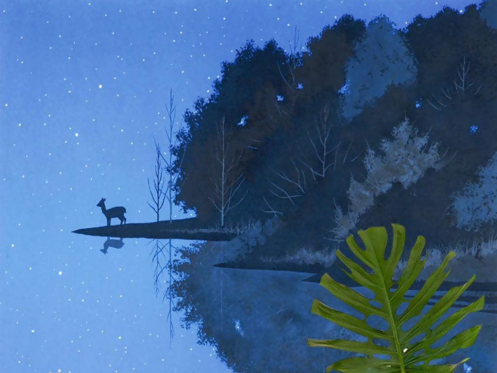千住博手绘童话森林小鹿星空壁画玄关背景墙