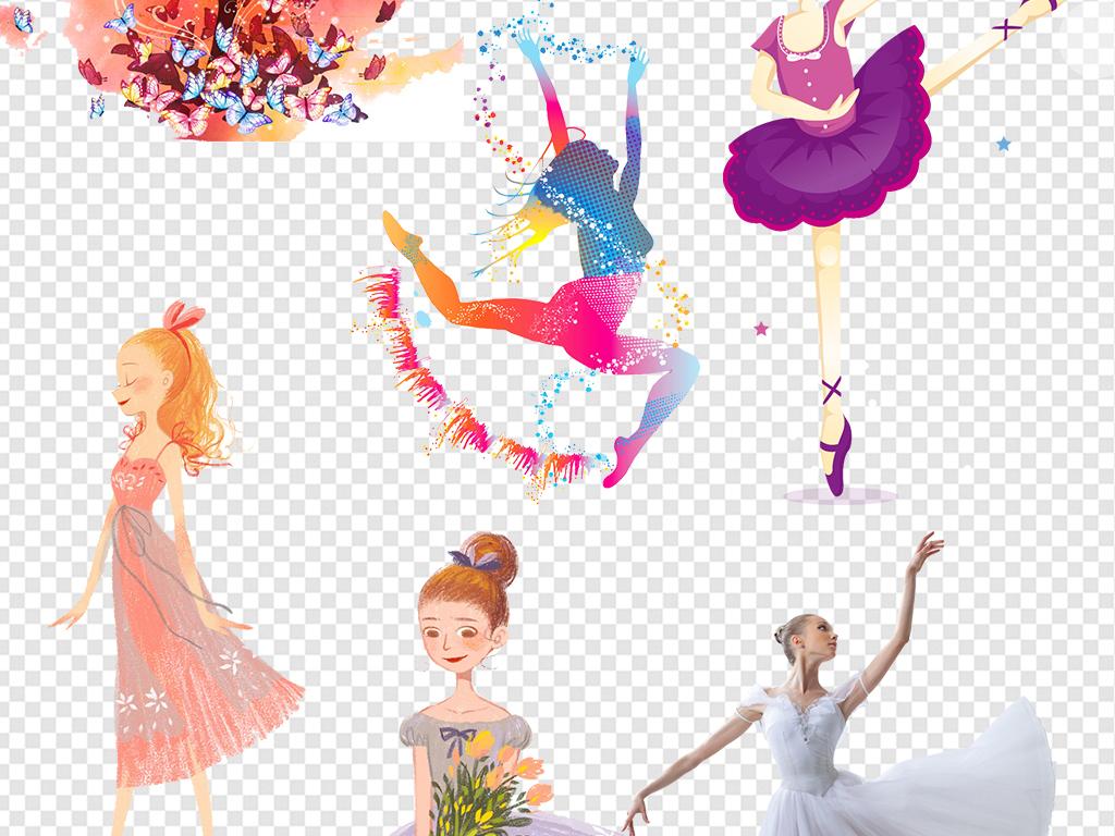 卡通跳芭蕾女孩芭蕾舞女炫彩水墨优雅舞蹈女孩手绘