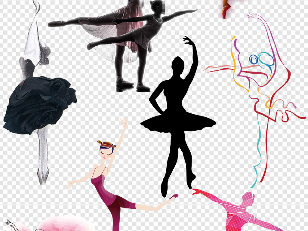 png)芭蕾人物舞者卡通跳芭蕾女孩芭蕾舞女炫彩水墨优雅舞蹈女孩手绘