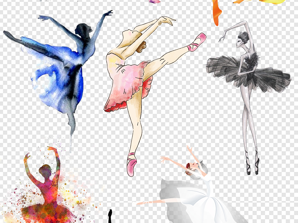 舞者卡通跳芭蕾女孩芭蕾舞舞女水彩水墨优雅舞蹈女孩手绘芭蕾舞鞋芭蕾