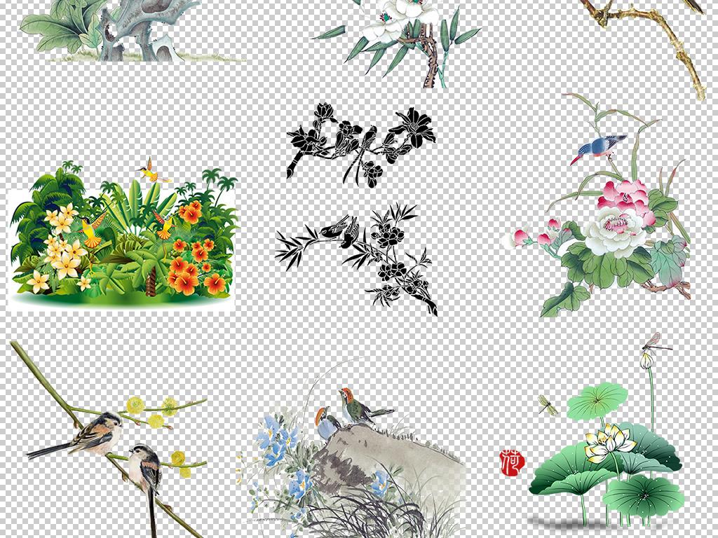 卡通手绘山水花鸟图设计元素png图片
