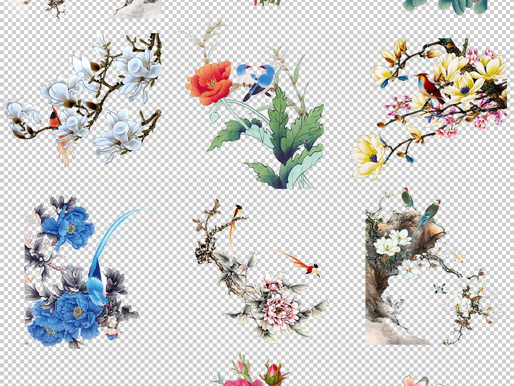 中国风古典山水花鸟画手绘素材png元素