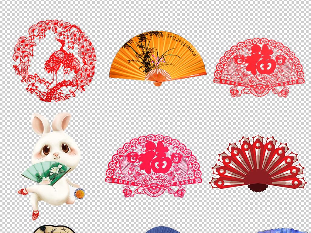 设计元素 背景素材 其他 > 中国风卡通折扇扇子设计免扣元素png  版图片