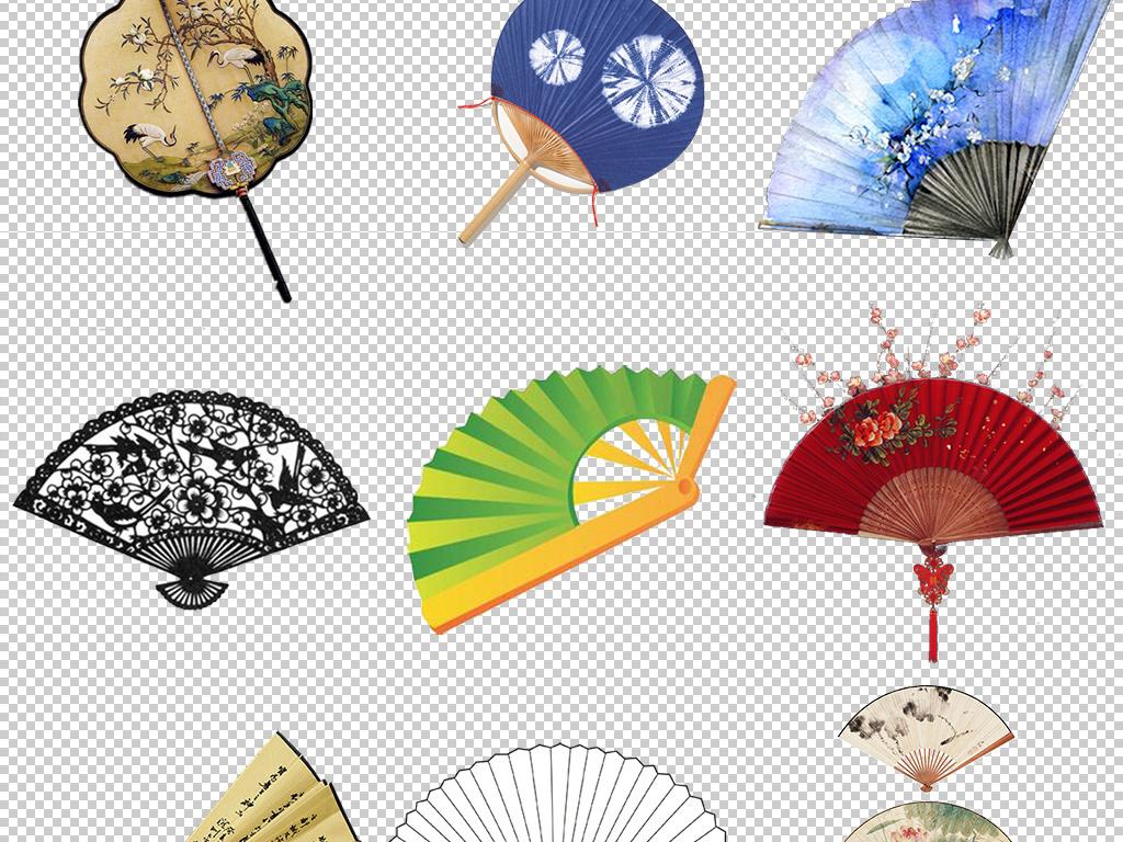 中国风卡通折扇扇子设计免扣元素png