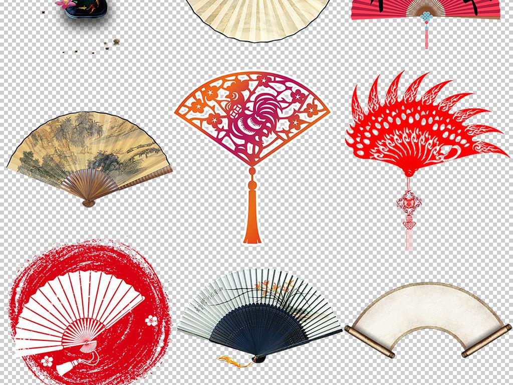 中国风水墨折扇扇子设计元素png