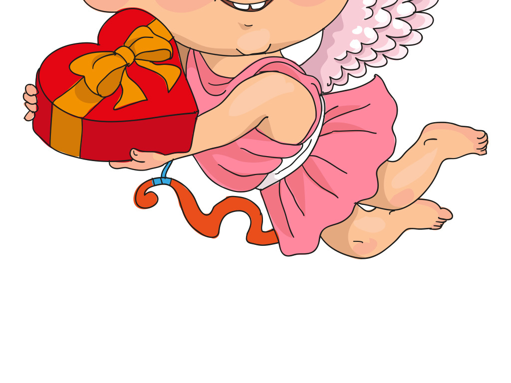 卡通水粉小天使送爱心礼盒