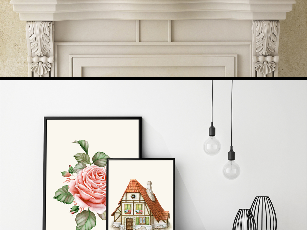 欧式简约复古花卉房屋手绘水彩无框画装饰画