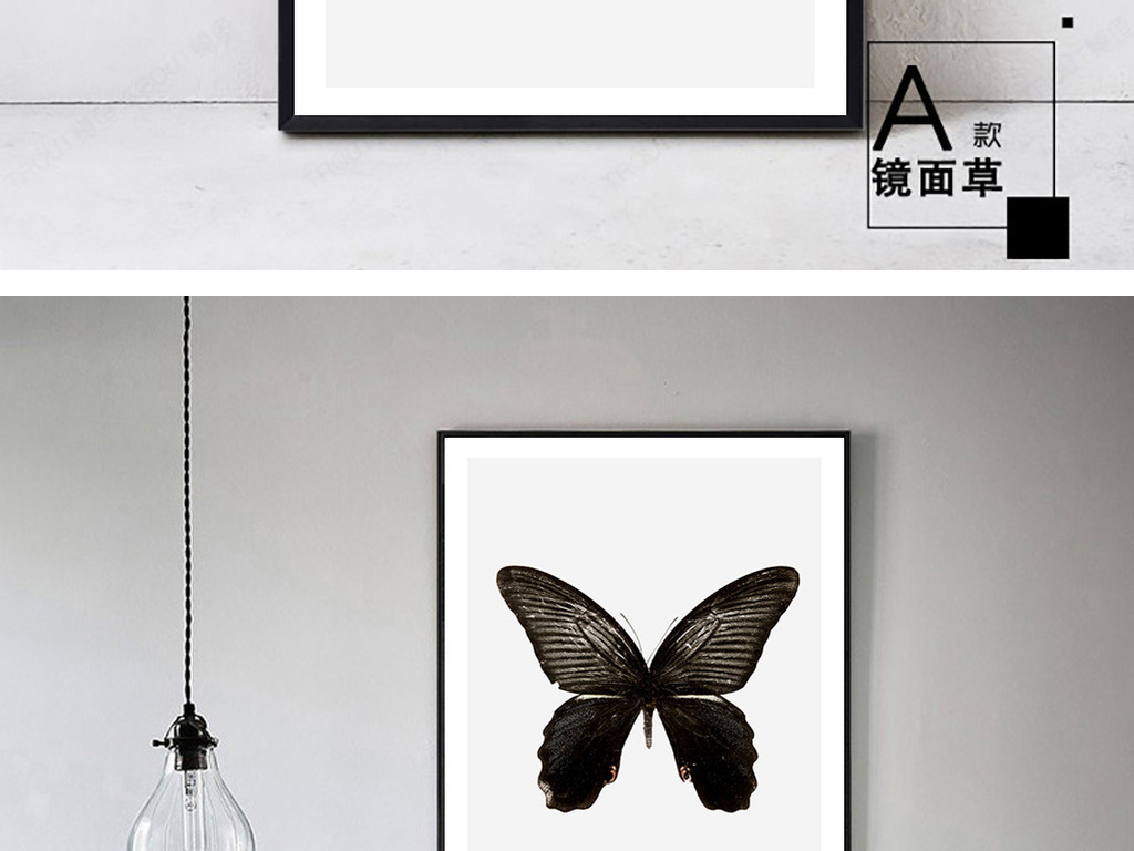 黑白蝴蝶装饰画