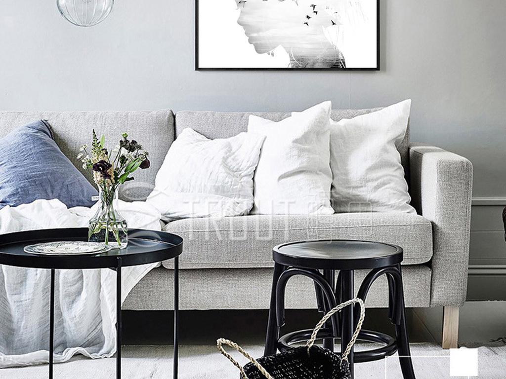 抽象人物鸟群装饰画黑白