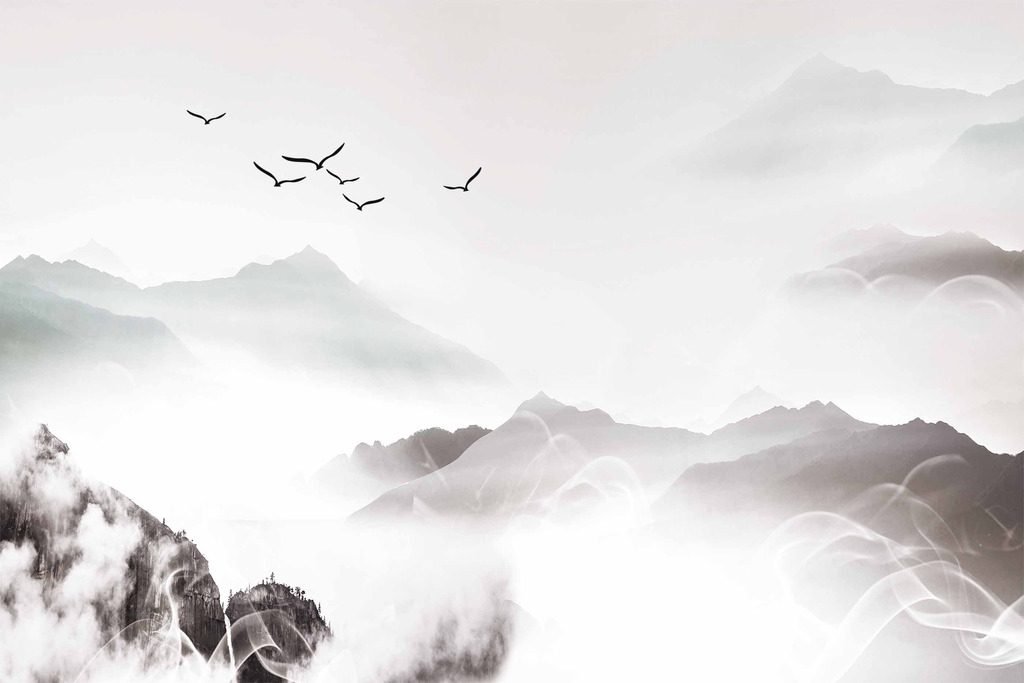 新中式抽象意境水墨山水画背景墙图片