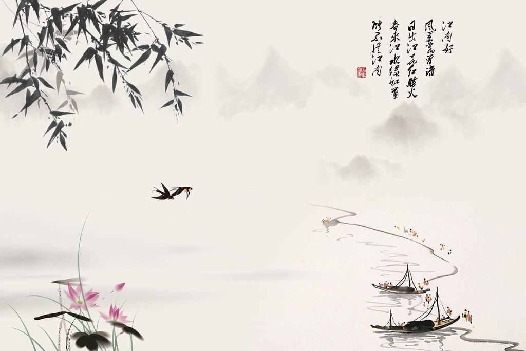 新中式水墨山水画中式背景墙图片