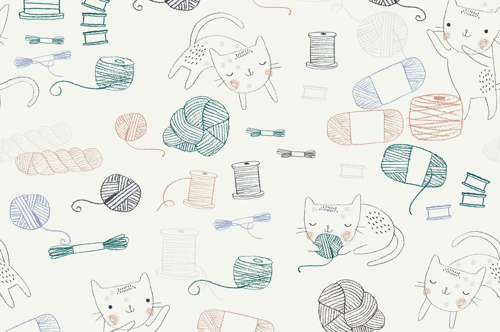 小清新手绘可爱卡通猫矢量图案印花
