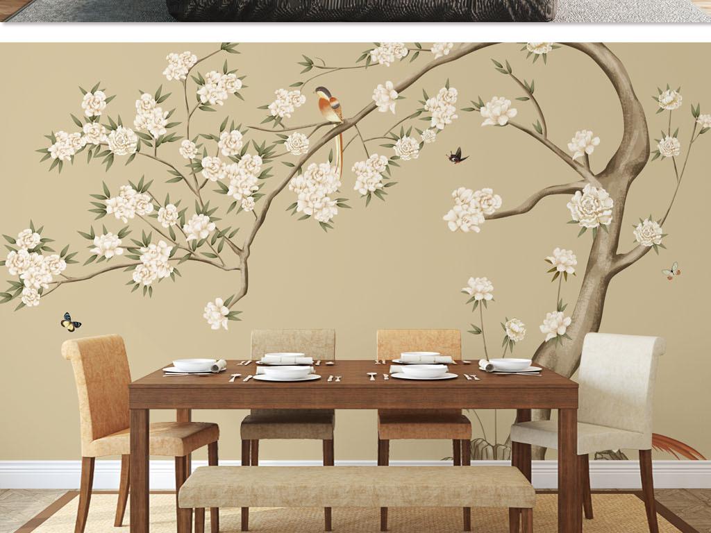 新中式高清手绘淡雅花树花鸟背景墙