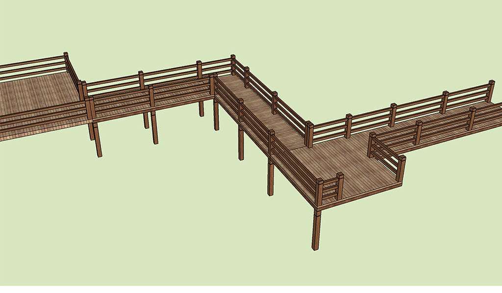 木栈道水上栈道高空观景栈道亲水平台木桥su模型图片