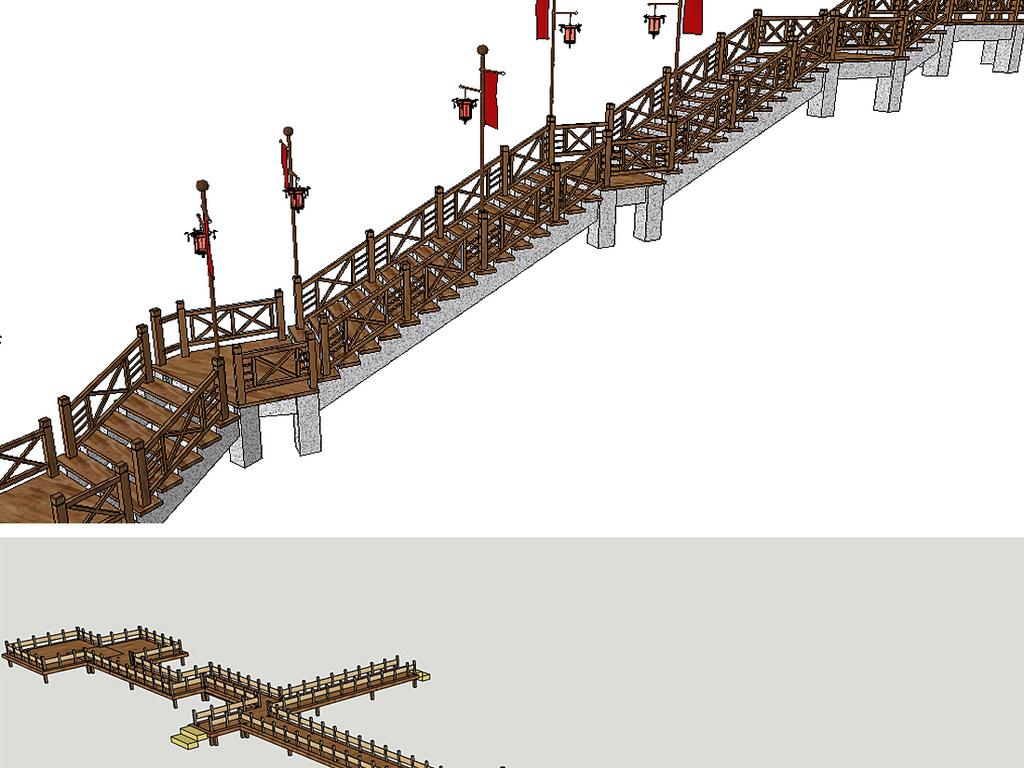 木栈道水上栈道高空观景栈道亲水平台木桥su模型