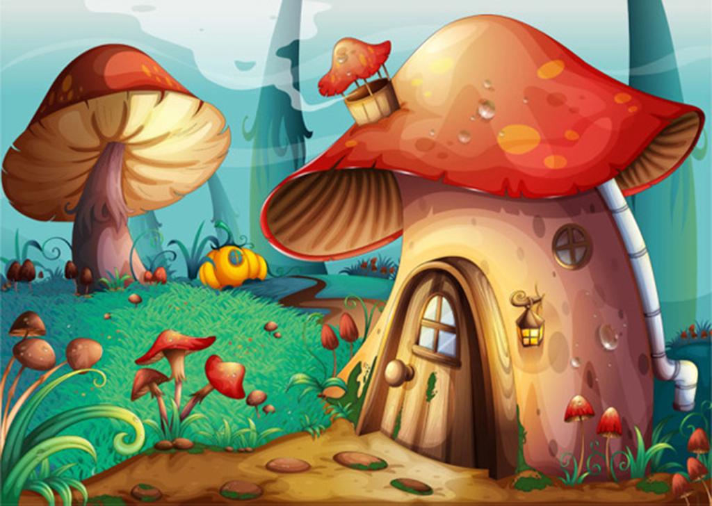 卡通蘑菇背景矢量图片