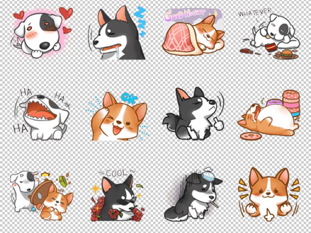 搞笑迷你手绘小狗手绘素材动物素材萌萌哒超萌可爱小