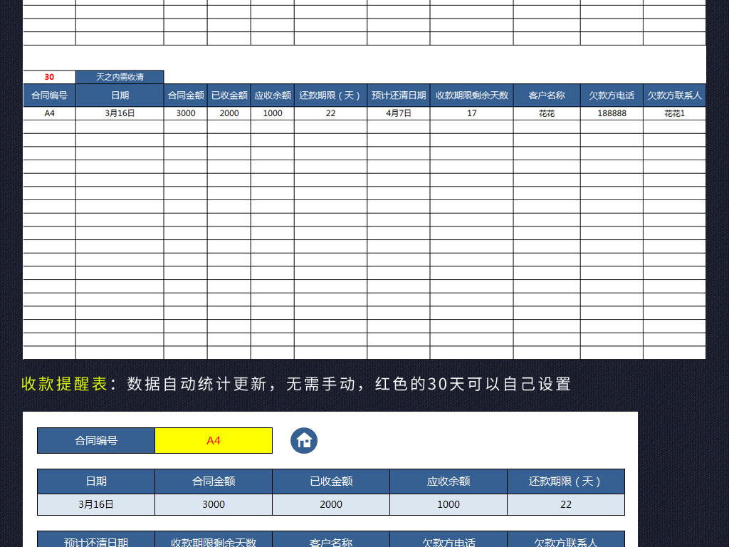 蓝色公司应收账款管理系统表格客户合同版