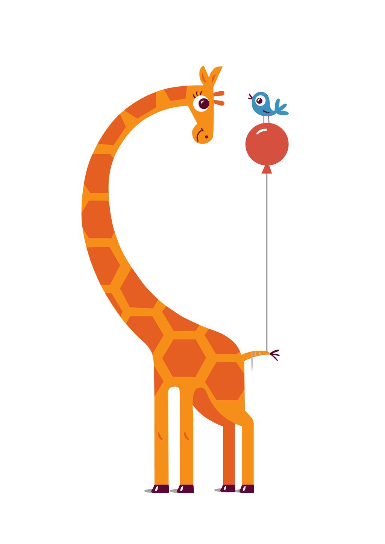 长颈鹿卡通动物图案插画气球小鸟