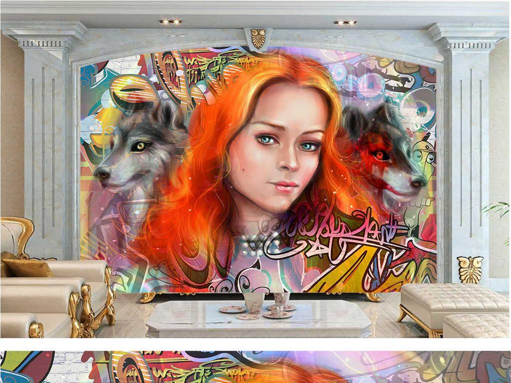 手绘美女背景墙(图片编号:16280693)_酒吧|ktv装饰墙