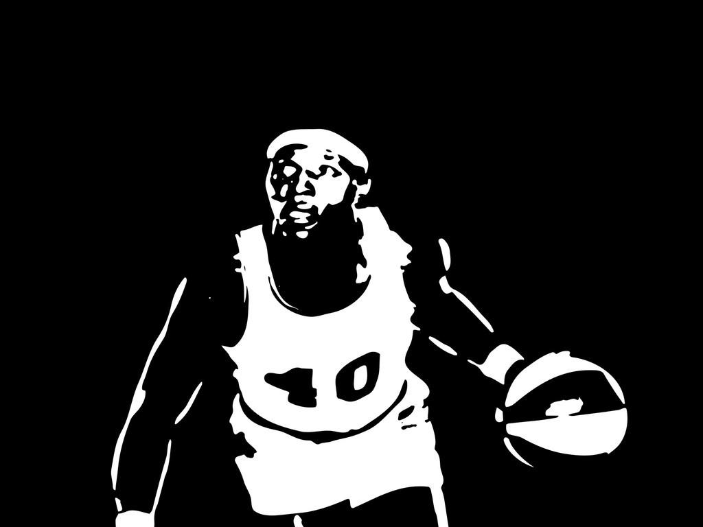 篮球运动员剪影插画人物简笔画