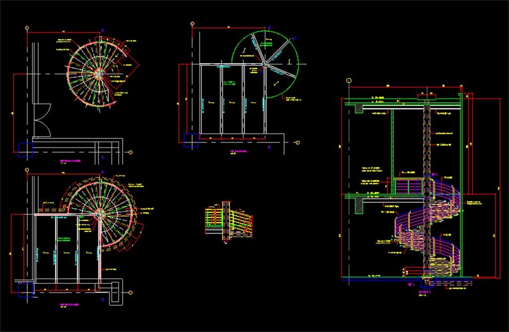 钢螺旋楼梯CAD施工图