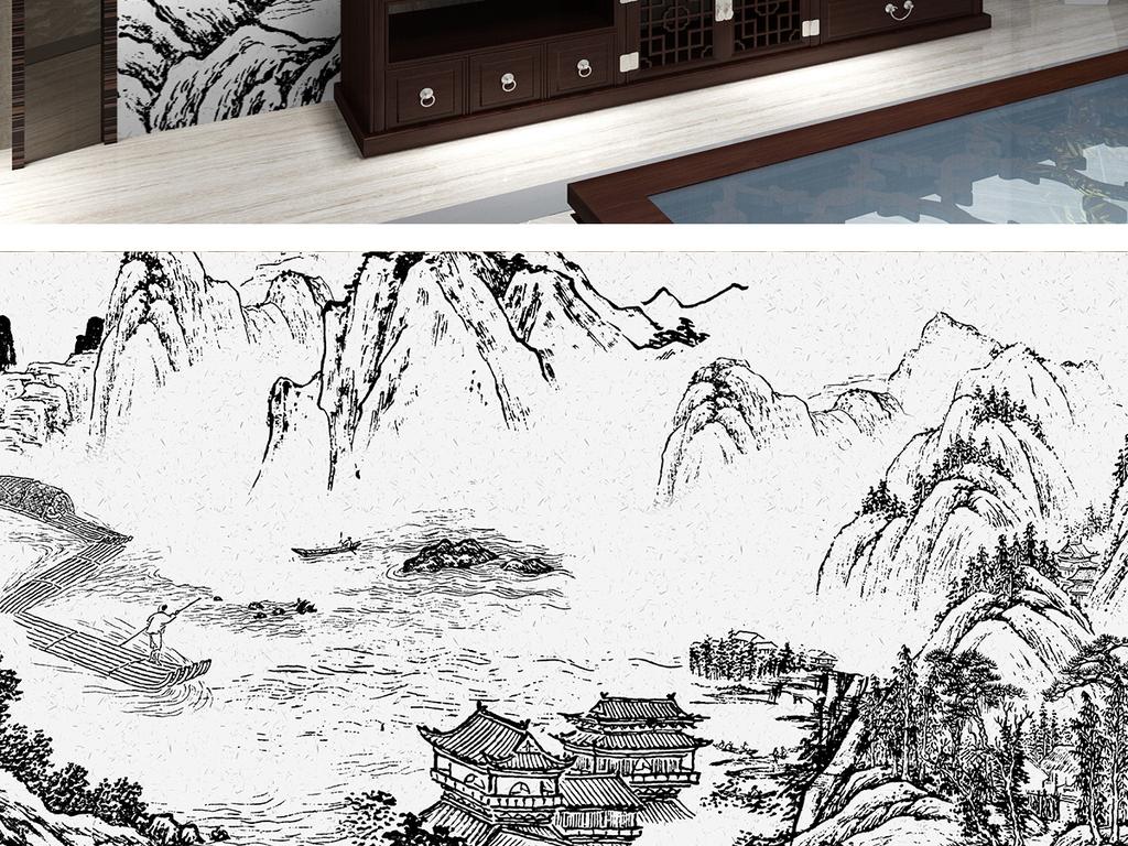大气水墨手绘线描山水画新中式背景墙