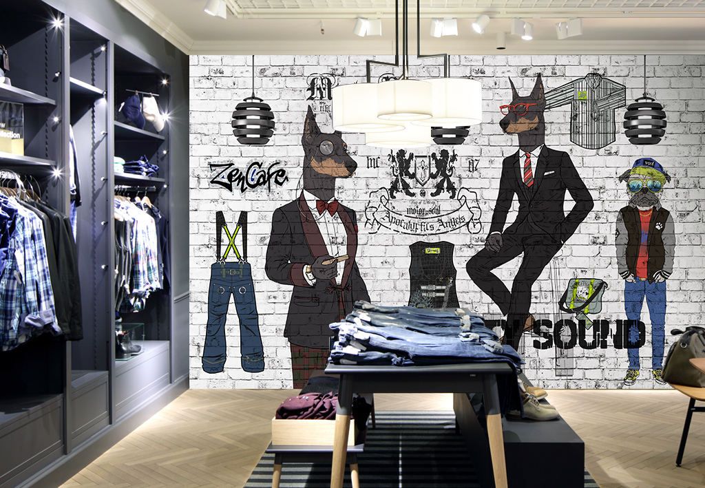 设计作品简介: 手绘抽象动物服装店背景墙装饰画 位图, rgb格式高清