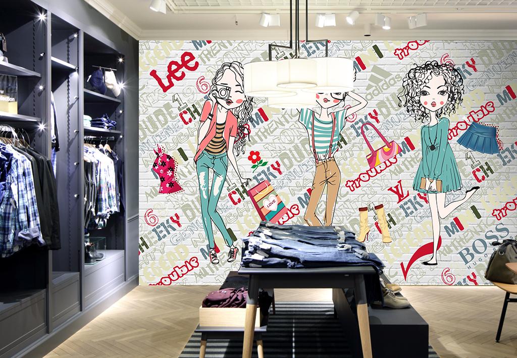 手绘漫画服装店背景墙装饰画