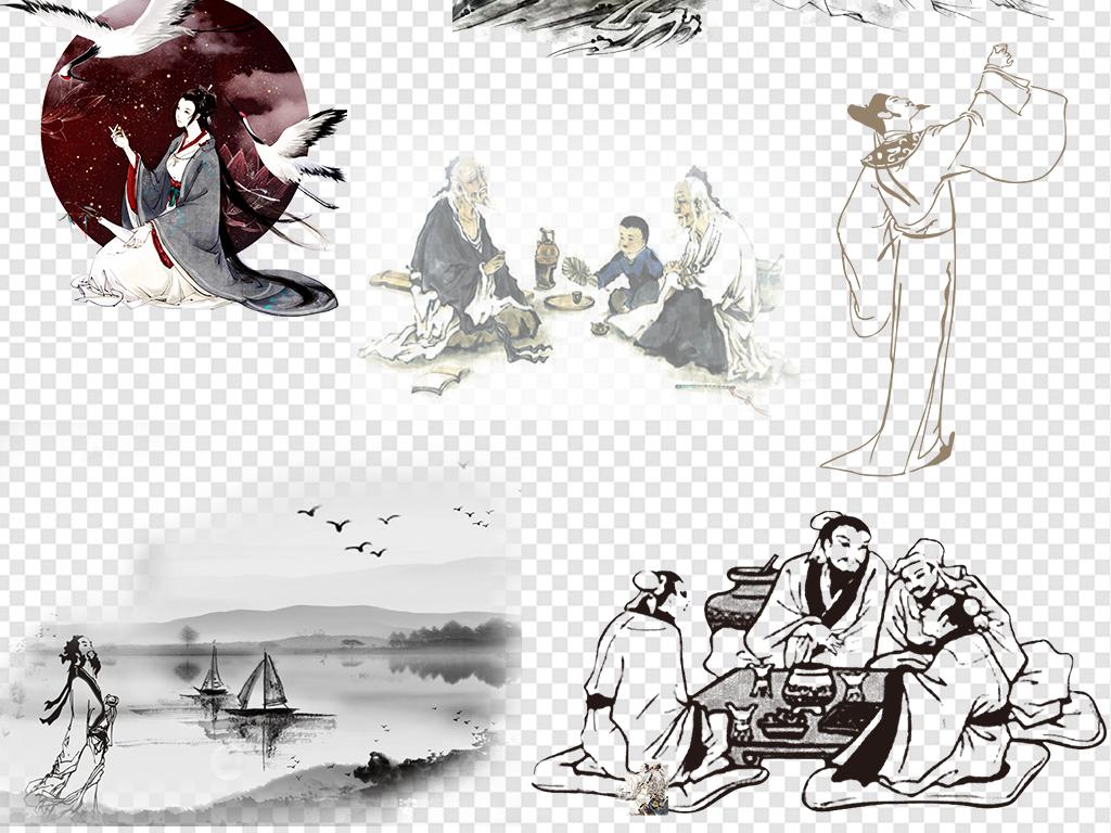 水墨古风古代人物诗人圣人图片素材