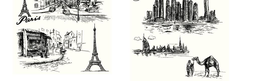 世界各地名胜古迹知名建筑旅游景点手绘图案