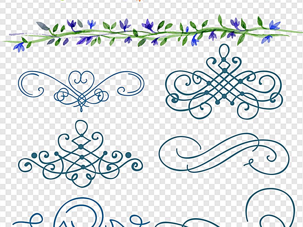 水彩花纹手绘花纹花儿素雅手绘花纹手绘花纹简约装饰边框