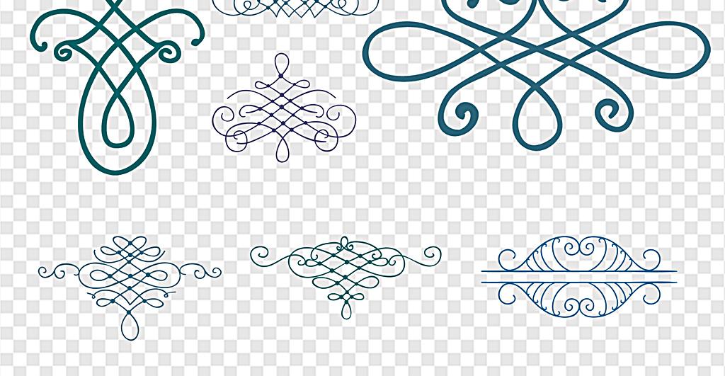 黑白花纹花边花边边框手绘花纹手绘水彩水彩手绘分割线花边手绘边框