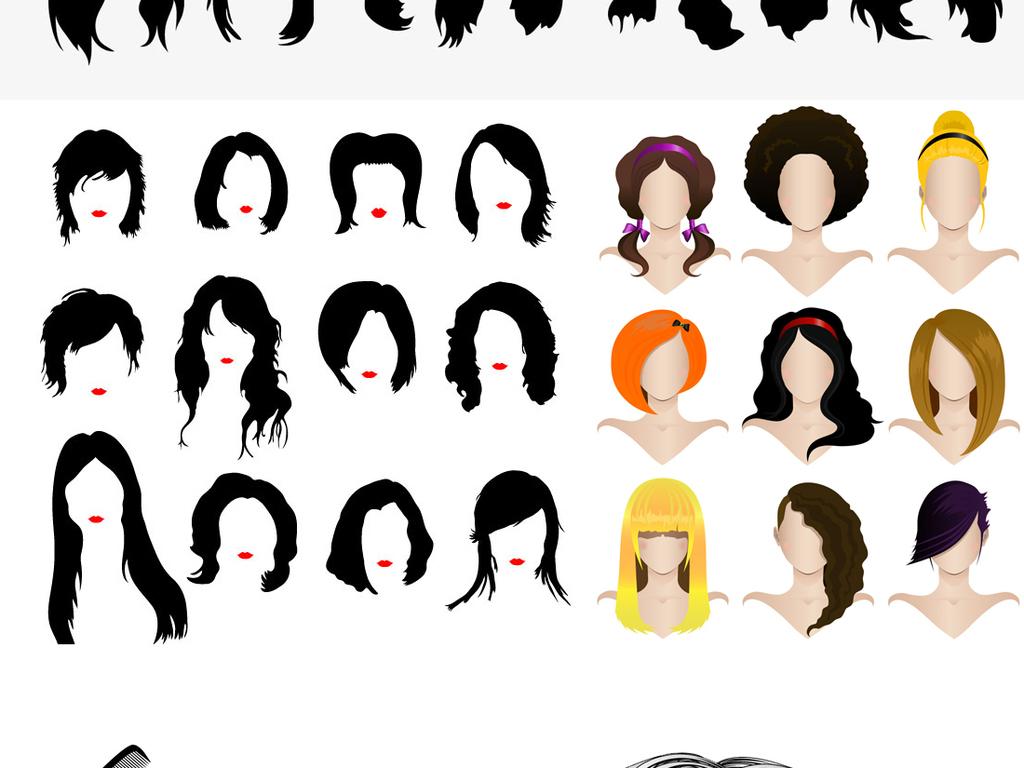 假发短发美女头发设计发型造型理发店装饰