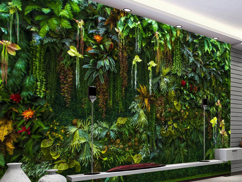 热带雨林唯美花卉植物绿叶背景