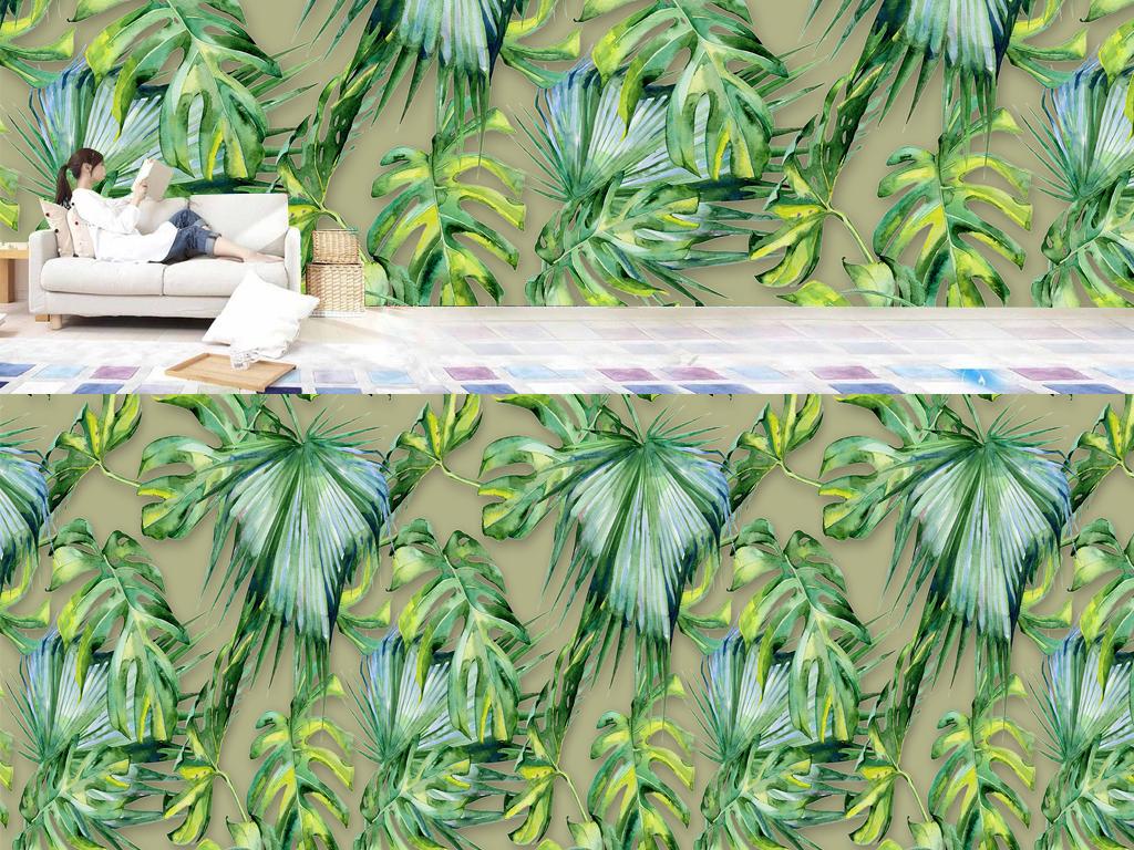 背景墙 电视背景墙 东南亚背景墙 > 手绘绿叶阔叶棕榈叶热带雨林植物