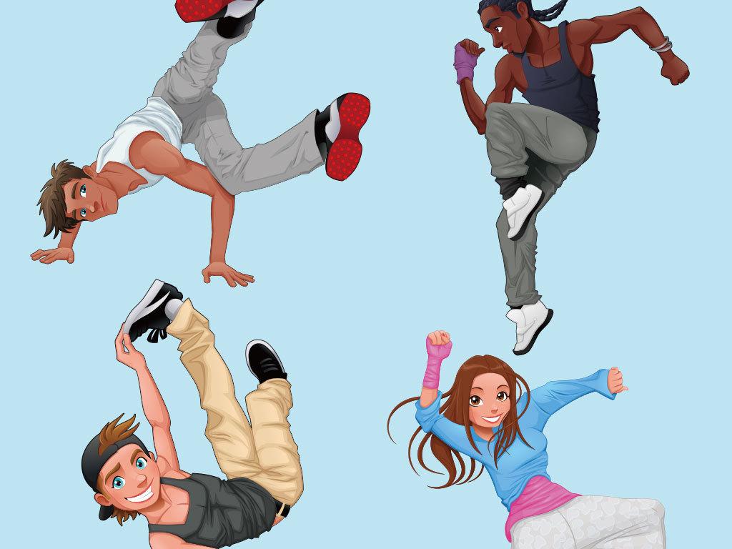 卡通街舞动作人物素材