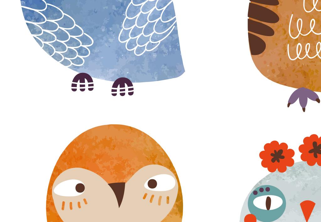 北欧手绘卡通猫头鹰创意儿童无框画装饰画